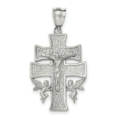 Sterling Silver Polished INRI Latin Crucifix Charm Pendant