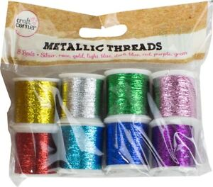 Metallic-Glitter-Sewing-Craft-Threads-Gold-Silver-Green-Pink-Red-Purple-Blue