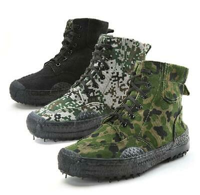 men military high top canvas camo casual shoes lace up