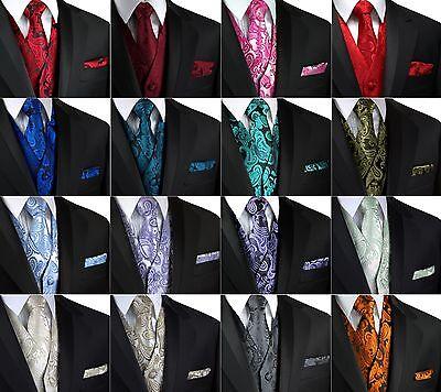 Brand Q Mens Formal Prom Wedding Tuxedo Vest Tie /& Hankie in Olive Paisley