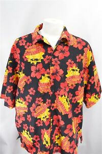 Hawaiian-Tropic-Black-Red-Yellow-XXL-Men-039-s-SHIRT