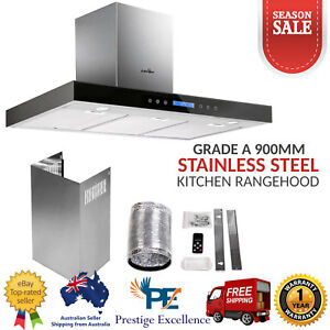 900mm 90cm Rangehood Stainless Steel Glass Range Hoods Commercial ...