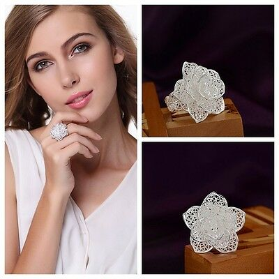 New Fashion Cute Silver Plated  Silver Plated Flower Beautiful Women Ring Hot