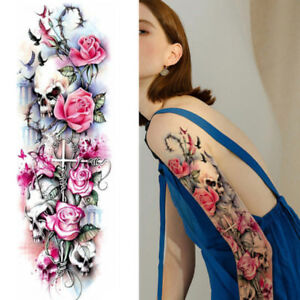 Skulls Poker Rose Flowers Roses Temporary Tattoo Arm Sleeve Large