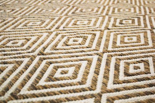 Handgewebter alfombra plana flor hecha a mano 100/% lana beige//marrón 80x150cm