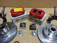 1968-1974 Chevy Nova Disc Brake Kit Stock RED WILWOOD DUAL PISTON CALIPERS