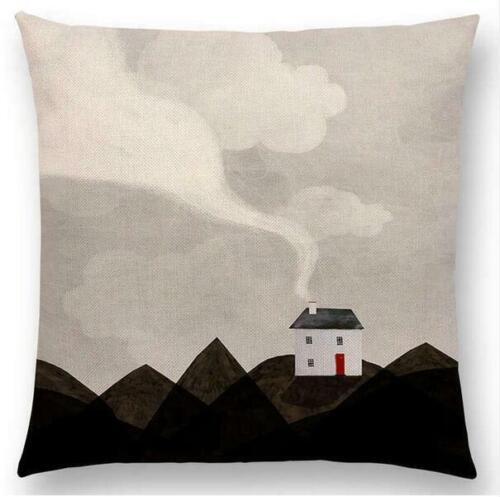 Pattern Dreamy Garden Fantasy Night Cat Deer Bird Cushion Cover Sofa Pillow Case