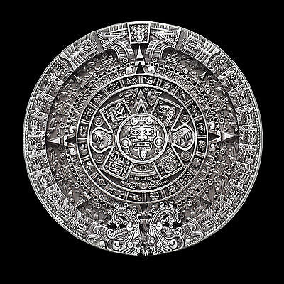 Buckle mit Azteken oder Maya-Kreismustern Gürtelschnalle Maya-Münzen