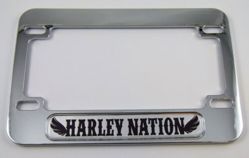 Harley Nation Motorcycle Bike ABS Chrome Plated License Plate Frame Emblem