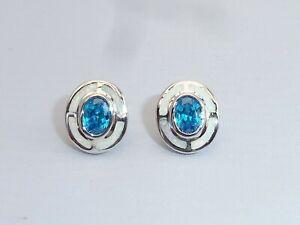 Damen-Art-Deco-Sterling-Silber-Fein-Opal-amp-Aquamarin-Ziel-Design-Ohrringe