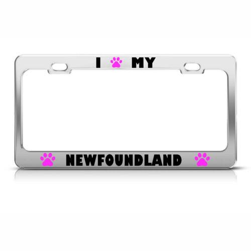 NEWFOUNDLAND PAW LOVE PET DOG METAL LICENSE PLATE FRAME TAG HOLDER