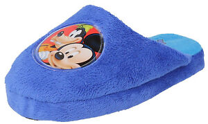 CHILDRENS-BOYS-DISNEY-MICKEY-MOUSE-AND-GOOFY-BLUE-INDOOR-MULE-SLIPPERS-WD8124