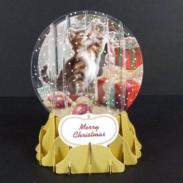 Holiday Cat Snow Globe Christmas Greeting Card 3D Pop Up Holiday Card