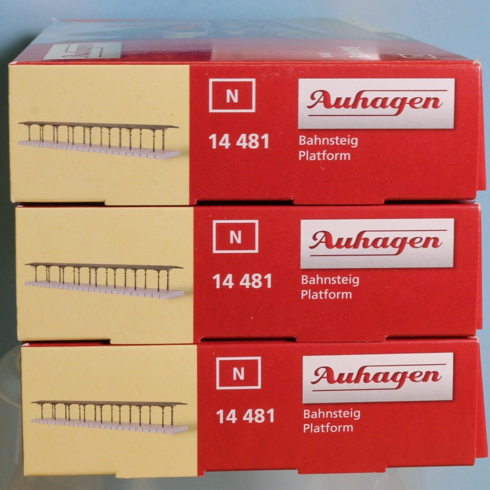 Auhagen 14481 x 3, pista N, kit andén con toldo (plástico)