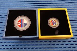 2X 2018 Singapore Trump & Kim Summit  Commemorative Gold & Silver Medallion