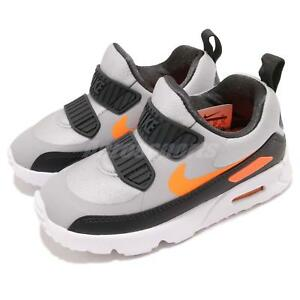 ec59f80cd8c2 Nike Air Max Tiny 90 TD Grey Orange Black Toddler Infant Baby Shoes ...