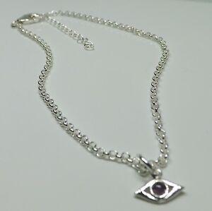 Sterling-Silver-Evil-Eye-Amethyst-Charm-Anklet-Talisman-Protection-Anklet