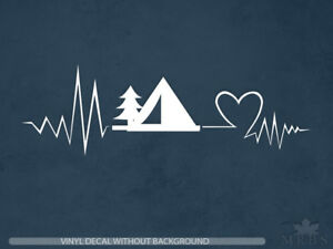 Camping-Decal-Heartbeat-camping-decal-Vinyl-Sticker-amp-Wall-Decals
