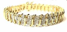 Exquisite 3 Carat CTW CT natural Diamond 10k Solid Yellow Gold Tennis Bracelet 7