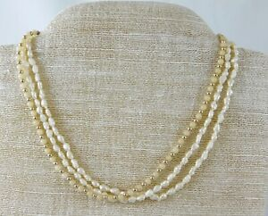 Vintage-3-Strand-Baroque-Pearl-Cream-Bead-Choker-Necklace-Brass-Fishhook-Clasp