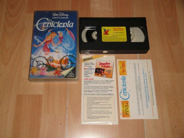 LA CENICIENTA DE WALT DISNEY CLASICO NUMERO 12 EN VHS DEL AÑO 1992 + PAPELITOS