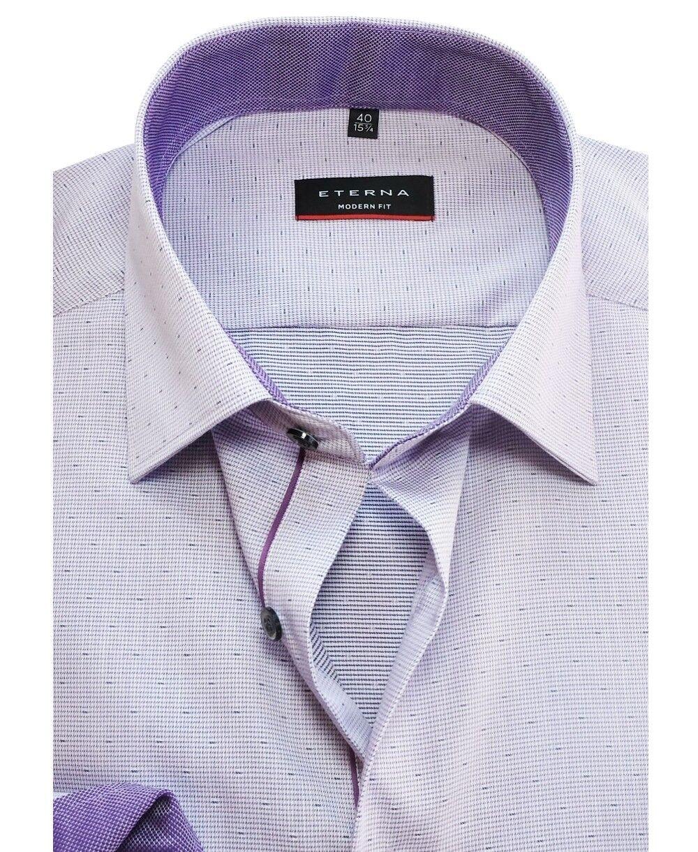 Eterna Modern Fit Langarmhemd Minidessin eingewebt flieder Gr. Gr. Gr. 38 bis 48   Ausgewählte Materialien  f097f7