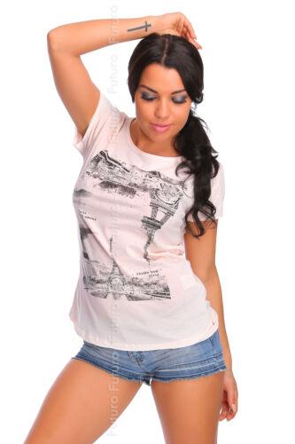 Womens Summer T-Shirt Eiffel Tower Print Cut Back Top One Size 8-12 FT1801