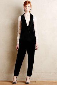 5c08d1cfa851 Image is loading NEW-Anthropologie-Harlyn-Velvet-Tuxedo-Jumpsuit-Black-Size-