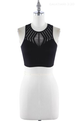 Seamless Solid Ribbed Sleeveless Cut Out Detail Racer Back Crop Top SM LXL