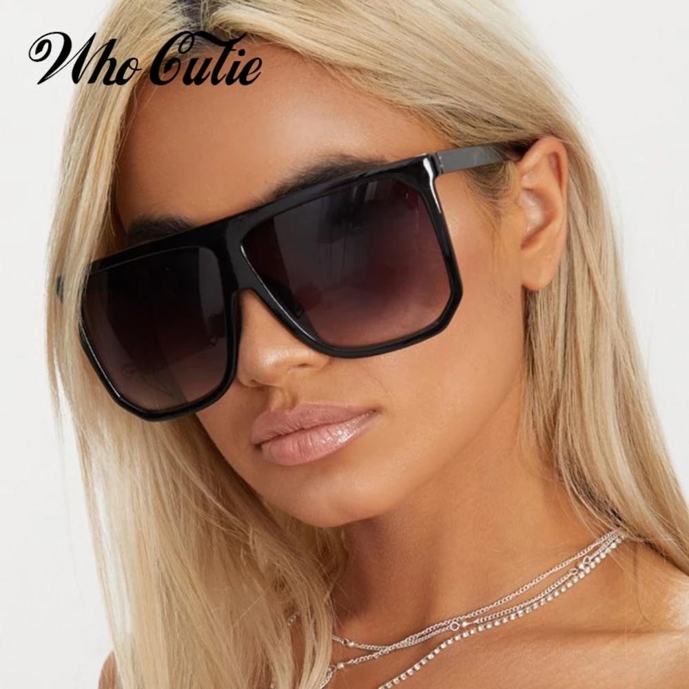 ? quién Cutie 2018 de gran tamaño Gafas de sol piloto diseño de marca para mujer marco Concha