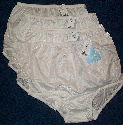 4 Pair Womens Size 11 WHITE Carole 100/% Nylon Panty Brief Style Panties USA Made