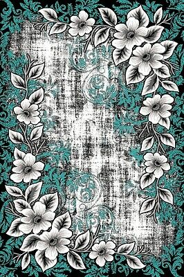 RUGS AREA RUGS CARPET AREA RUG FLOOR FLORAL MODERN LARGE TURQUOISE GRAY RUGS NEW