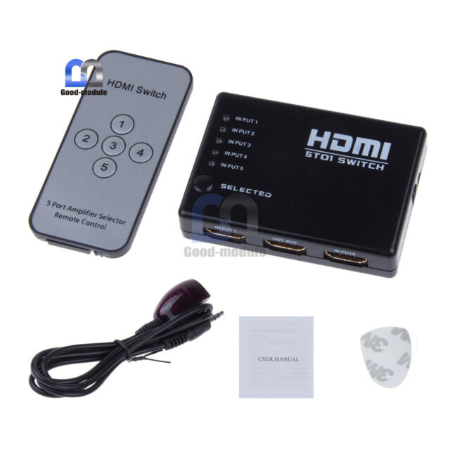 5 Port 1080P Video HDMI Switch Switcher Splitter for HDTV DVD PS3+ IR Remote