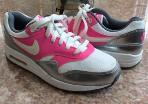 Nike Air Max 1 (GS) Kid's Silver Pink White Running Shoes
