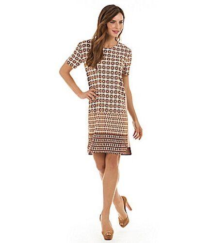 Adrienne Vittadini Tile Sand Multi Border-Print Shirt Dress Sz M New