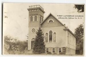 RPPC-Postcard-First-Lutheran-Church-Jeffersonville-Sullivan-Co-NY-New-York