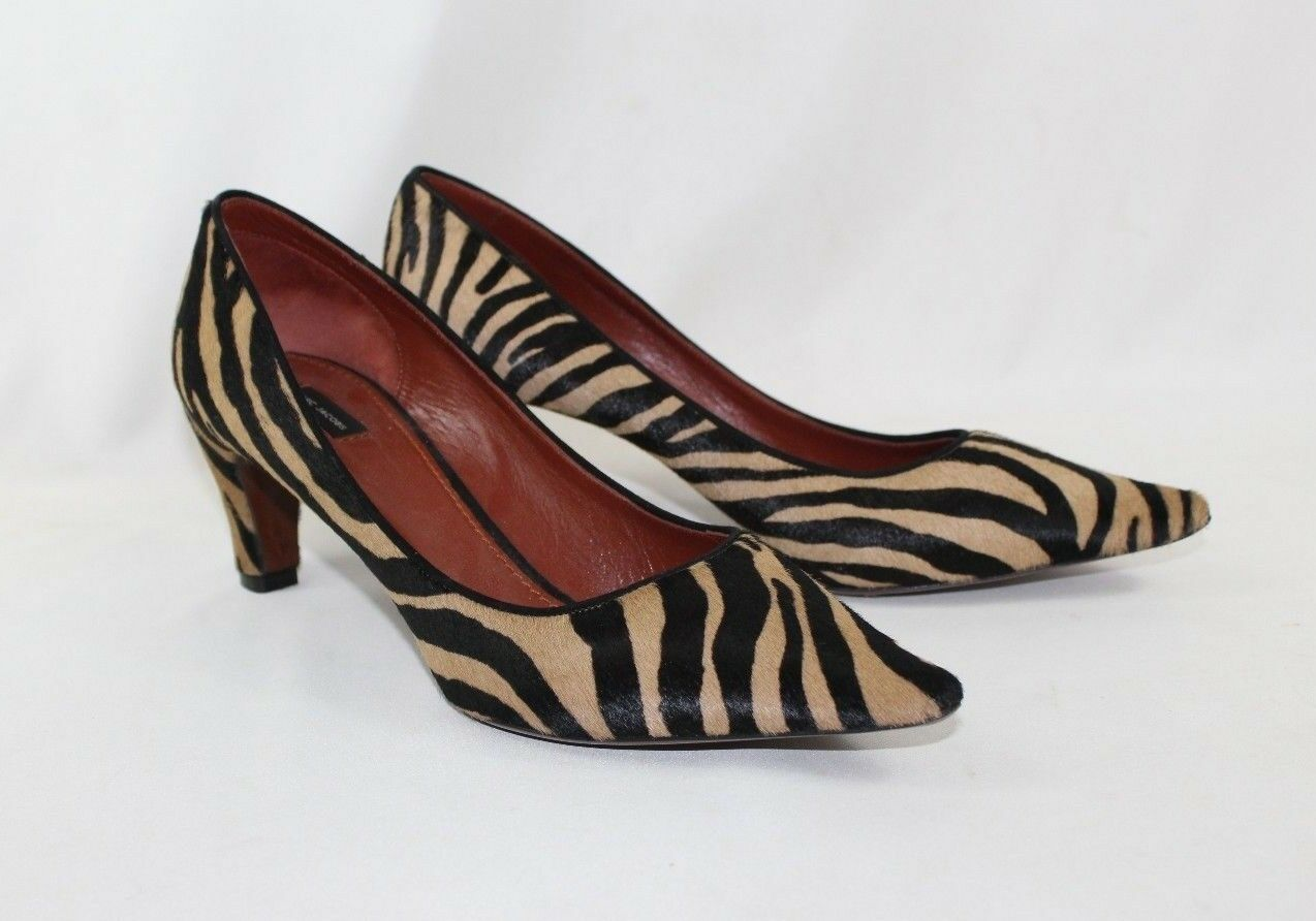 Marc Jacobs Women's Pony Hair Calf Zebra Striped High Heel Pumps - 38 1 2 Euro