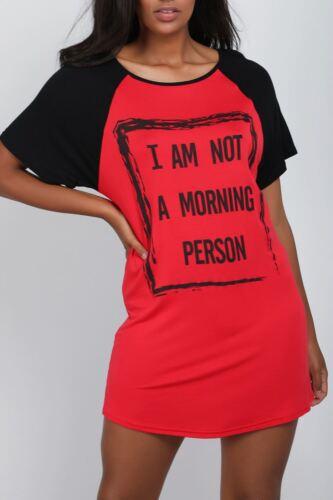 Femme Raglan Manches je ne suis pas du matin personne T Shirt Baggy Mini PJ Robe