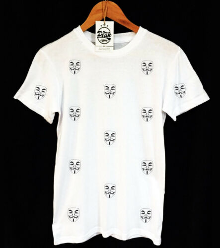UNISEX V FOR VENDETTA PATTERN VITAGE CLOTHING ANONYMOUS MASK T-SHIRT