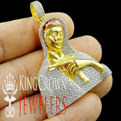 "10K Yellow Gold Silver Simu Diamond Thumbs Up Pendant 1.5/"" Mini Mens Pave Charm"