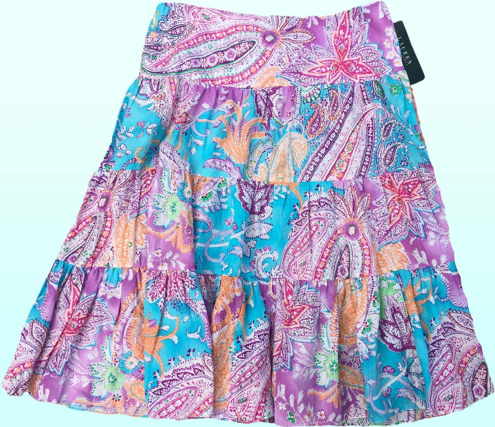 139 Ralph Lauren Moriah Sugar Plum Multi Paisley Tiered Linen Skirt XL