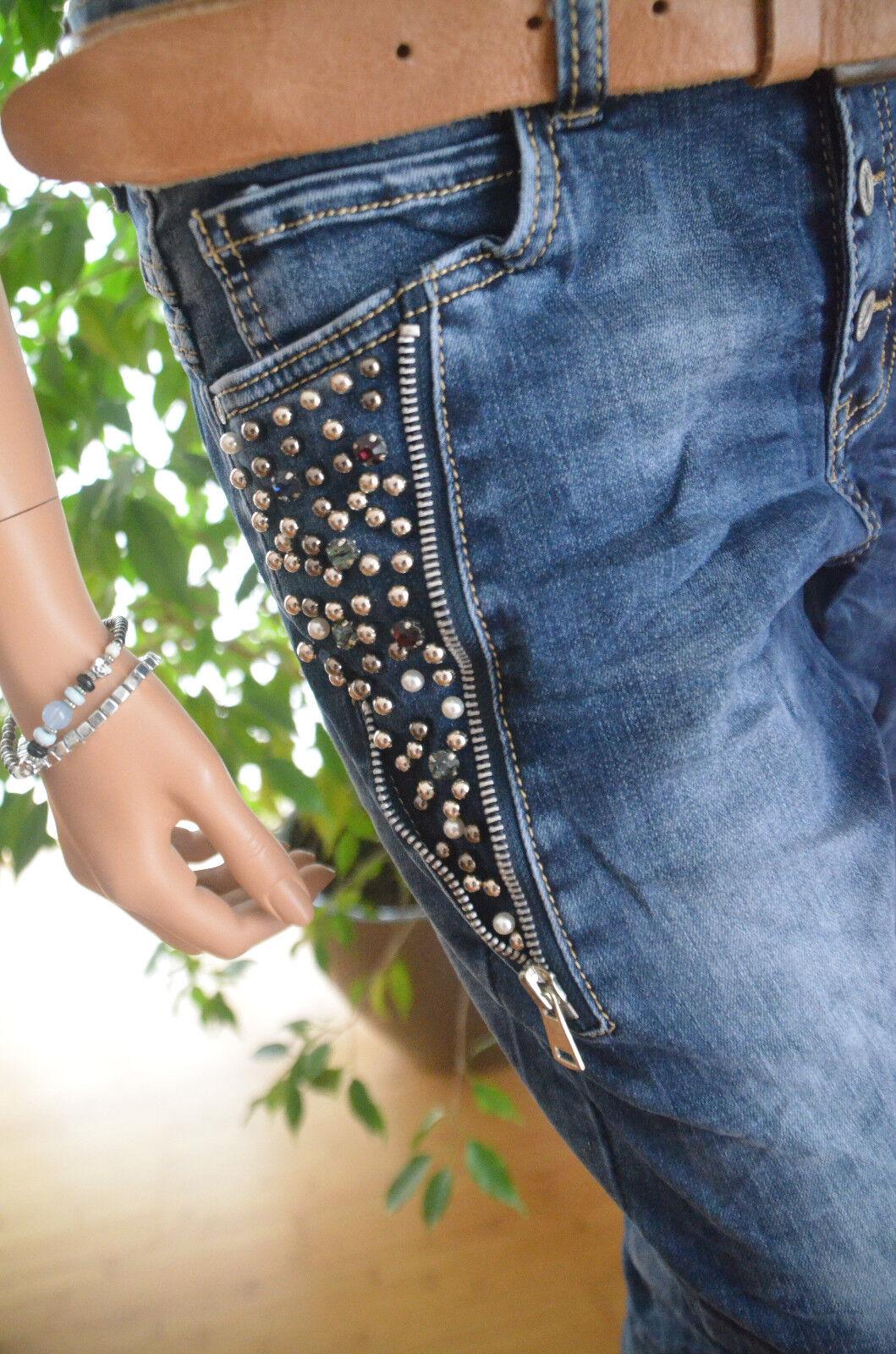 Jewelly Lexxury Boyfriend Jeans Hose Damen 42 Perlen Strass Strass Strass RV Blogger Neu  | Elegantes und robustes Menü  d1d0ea