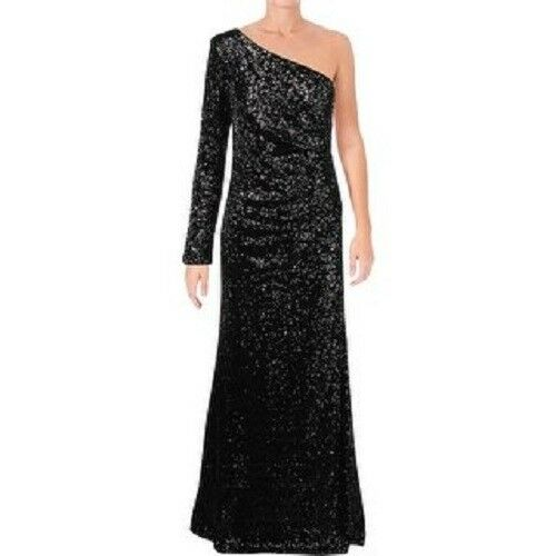 Vince Camuto Womens Sequined One Shoulder Evening Dress Size 4  D414