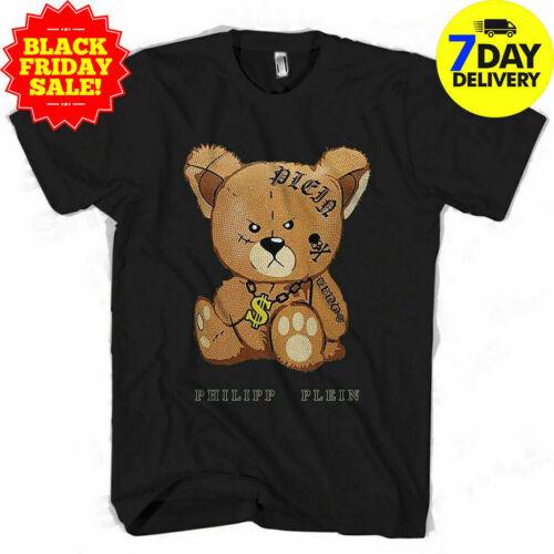 Bear Print Philipp Plein Mens T-Shirt Black full size for men women Birthday ...
