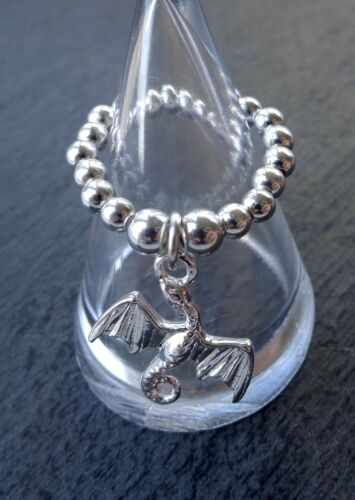 925 STERLING SILVER DRAGON ICE /& FIRE CHARM RING STRETCH /& STACK