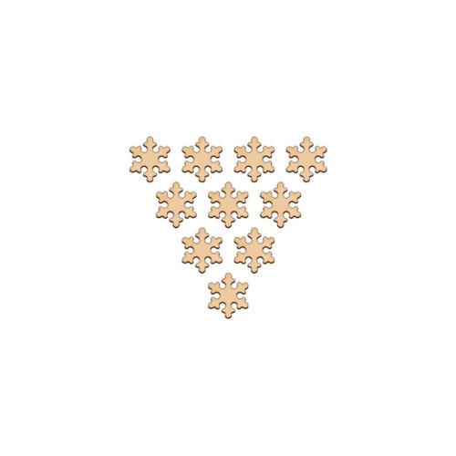 Snowflake Shape Craft 3.2 cm en blanc en bois de bouleau décoration embellissement cornes