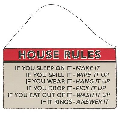 dotcomgiftshop HOUSE RULES VINTAGE STYLE METAL WALL SIGN. HOUSE WARMING GIFT