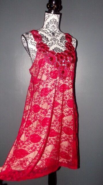 PRASLIN ROBE DRESS SOIREE  DENTELLE CABOCHONS  T 18 OU 46 48  nueva gama alta exclusiva