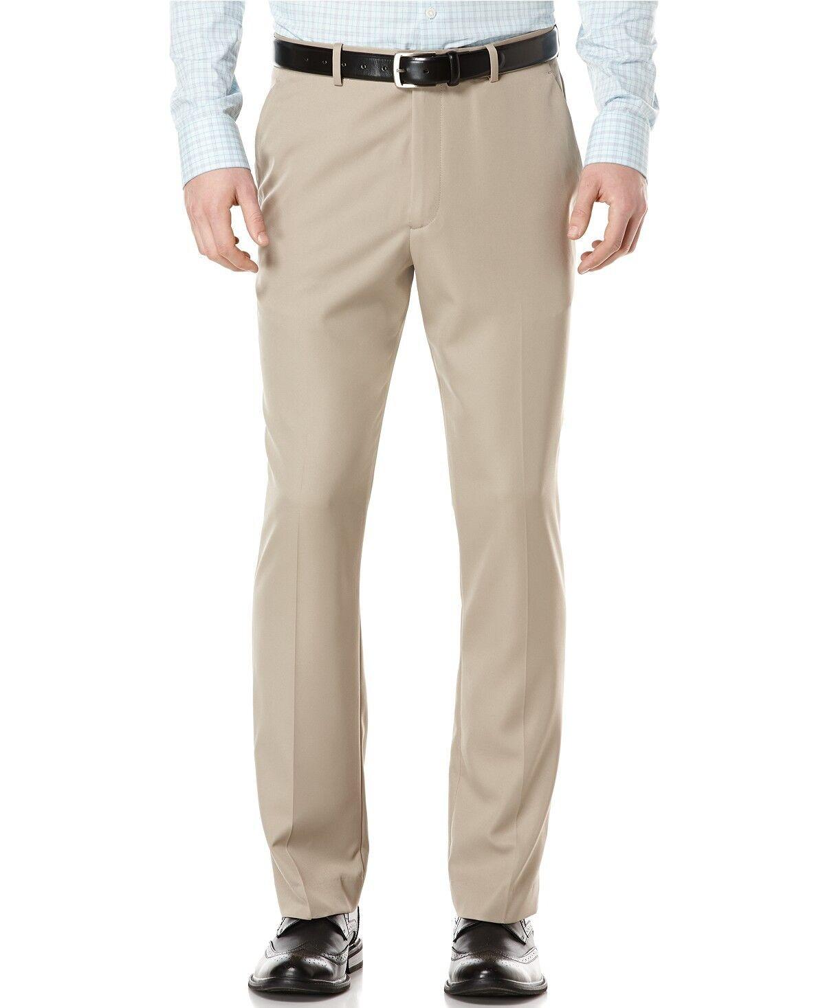 PERRY ELLIS PORTFOLIO men BEIGE FIT FLAT FRONT SUIT DRESS PANTS 36 W 32 L