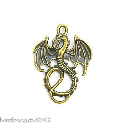 5 ANTIQUE BRONZE TONE DRAGON PENDANT CHARMS 34mm Steampunk Mythical Creature